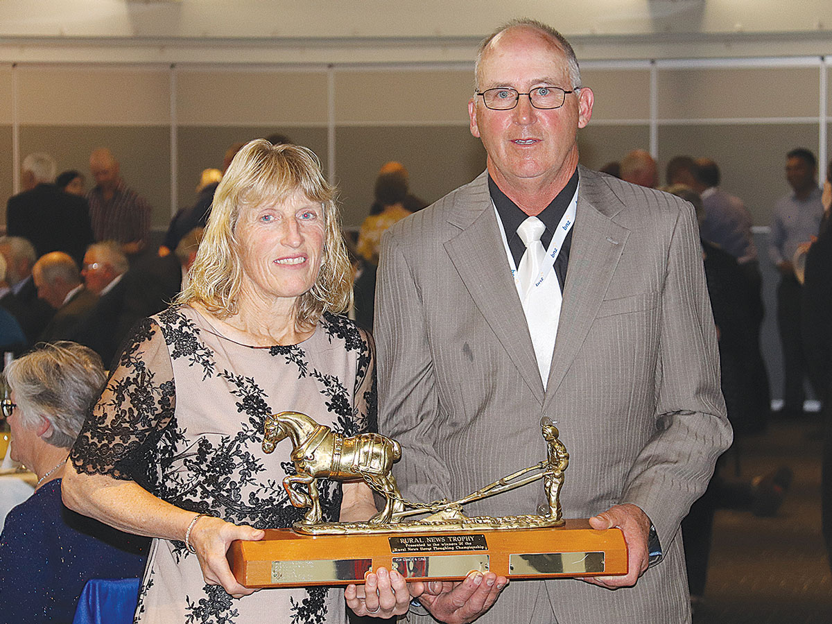 Sharon and John Chenowyth winners of the horse ploughing contest