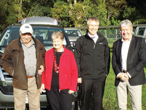 Environment Minister David Parker and Agriculture Minister Damien O'Connor with Cambridge farmers Bill and Sue Garland.