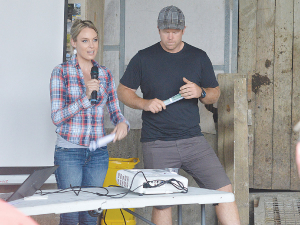 Gina and Dan Duncan speaking at a field day in Wellsford.