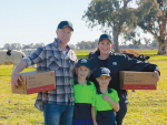 Victorian farmers who supply Fonterra's Stanhope plant – Jared and Courtney Ireland with children Addison, 8 and Logan, 6.
