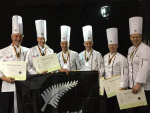 NZ Anchor Food Professionals team bring home silver from the Culinary Olympics. From left to right: Stephen Le Corre, Richard Hingston, Darren Wright, Corey Hume, John Kelleher and Mark Sycamore.