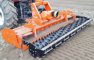 Cosmo Bully M120 power harrow with packer roller.