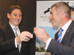 Spring Sheep chief Scottie Chapman and Primary Industries Minister Nathan Guy toast the new sheep milk PGP project.