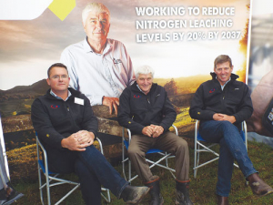 From left: Matt Mcfie, Phil Beatson and  Angus Haslett at CRV Ambreed stand at SI Field Days.