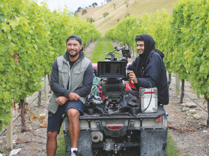 Filming in the Sleepers Vineyard in Kekerenungu.