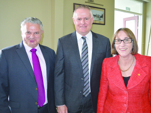New Fonterra chief (centre) with re-elected director Brent Goldsack and new director Cathy Quinn
