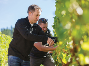 Winemaker Sam Bennett (left) and te Pa owner Haysley MacDonald.