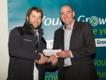 Tom Dalziel (left) receiving his award from competition's coordinator, and local orchardist, Andrew Kininmonth.