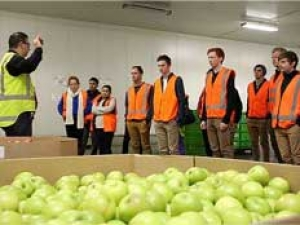 First-year Horticulture Production paper students during a tour of the T&G facilities in Palmerston North.