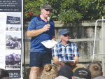 Lincoln University Dairy Farm manager Peter Hancox (left) addresses a recent field day with farming consultant Jeremy Savage.