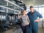 John and Debbie Moorby in their new dairy plant.