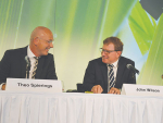 Fonterra chairman John Wilson (right) and chief executive Theo Spierings share a light moment at the announcement.