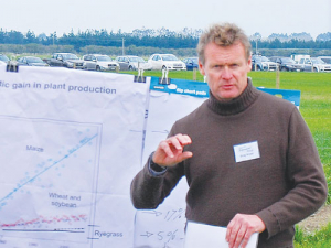 AgResearch scientist Dr Greg Bryan discusses the development of a genetically-modified ryegrass, during a workshop for farmers in 2017.