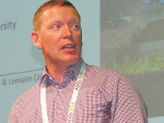 Irish farm systems researcher Dr Brendan Horan speaking at Massey University last month.