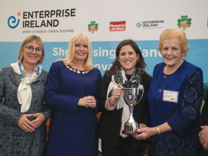 Ireland's farming technology resurgent: (from left) Julie Sinnamon, chief executive Enterprise Ireland; Minister for Jobs, Enterprise and Innovation, Mary Mitchell O'Connor TD; Clodagh Cavanagh, managing director Abbey Machinery, winner of the Anna May McHugh Female Leadership Award; Anna May McHugh, managing director National Ploughing Championships.