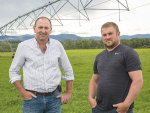 Waimakariri Irrigation's Paul Reese (left) with Eyrewell farmer Scott Evans.
