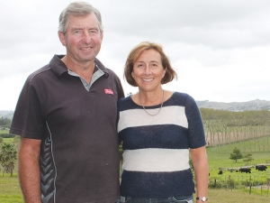 Auckland region Ballance Environmental Farm Award winners Richard and Dianne Kidd on their Helensville farm.