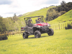The Honda Pioneer 1000 has a large tilting cargo bed for loads and a one-tonne towing capacity.