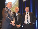 Fonterra chairman John Monaghan (right), former director Simon Israel (centre) and director Peter McBride at the co-op's AGM.