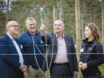 From left Massey University's Head of the School of Agriculture and Environment Professor Peter Kemp, Fruitcraft general manager Steve Potbury, New Zealand Apples & Pears capability manager Erin Simpson, New Zealand Apples & Pears chief executive Allan Pollard and Bachelor of AgriScience student Georgia O'Brien.