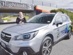 Federated Farmers' Southland territory manager Laura Sanford with her Subaru.