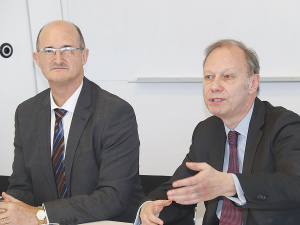 Head NZ negotiator Martin Harvey (left) and his EU colleague Peter Bortz in Wellington last week.