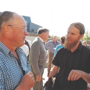Northland farmer Laurie Copland and AgResearch's Grant Rennie.
