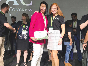 The New Zealand Ambassador to Colombia Lucy Duncan (left) and NZ Avocado CEO Jen Scoular following the NZ bid win announcement.