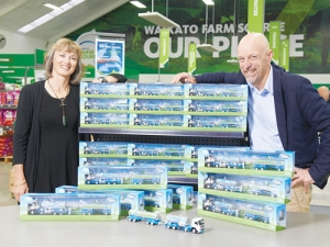 Matt Shirtcliffe, creative director Shirtcliffe & Co (right) and Michelle Thompson, chief executive RHANZ, with the mini tankers at the Fonterra Farm Source Store in Cambridge.