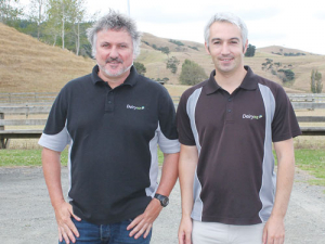 Dr Paul Edwards, right, and milk quality consultant Josh Wheeler at the Helensville Mini Milksmart event.