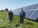 Alastair and Nick Frizzell of Frizzell Agricultural Electronics at a Dunsandel site where they have installed a large solar array to pump bore water into a vital Canterbury mudfish habitat.