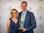 Mat Hocken with wife Lana after receiving his award in Auckland last night.