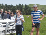 Beef+Lamb NZ Future Farm Insights Manager Kirstie Lovie discusses Lanercost Farm's performance alongside farm manager Digby Heard, during the farm's second annual Open Day. Photo: Rural News Group.