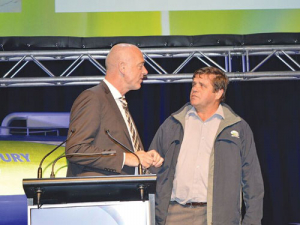 Fonterra chief executive Theo Spierings and Whakatane farmer Gerald van Beek at this month's annual meeting.