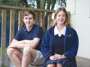 Two of the five students taking part in the inaugural year of the New Zealand School of Winegrowing, Kris Godsall and Katie Bruce.