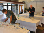 Judging at this year's International Aromatic Wine Competition. In front, Simon Waghorn and behind, Chair of Judges, Jim Harre.
