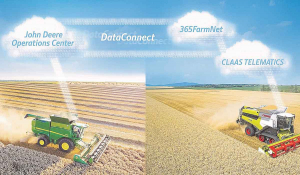 A collaboration between Claas and JD is described as agri's first direct cloud-to-cloud data exchange solution.