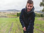 Viticultural consultant Jared Connolly, marks out the rows of the luna Vineyard.