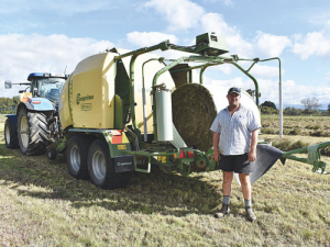 Lewis Herrick with his Krone film wrap unit.
