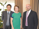 From left, Dr Kevin Liu, BEC Feed Solutions country manager Trina Parker and professor Peter Surai.