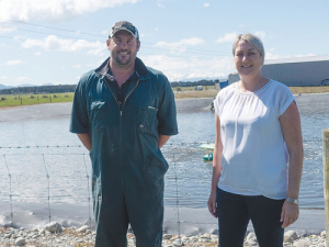 The Pye Group's Michelle Pye (right) with farm manager James Emmett.