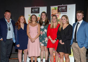 (Left-right) Rob Hewett, Louise Schwass, Lucy Hewitt, Monique Yule, Chloe Hannah, Chloe Saxton, and George Blyth.
