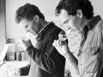 David Hohnen (left) and winemaker Kevin Judd, tasting the Cloudy Bay wines, back in 1989.