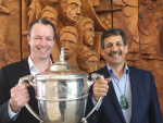 DairyNZ chief executive Tim Mackle (left) and Ahuwhenua management committee chairman Kingi Smiler with the trophy.