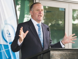 John Key speaking at opening of Tetra Pak's new building in Waikato, earlier this month.