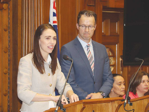 Prime Minister Jacinda Ardern and DairyNZ chief executive Tim Mackle at last week's announcement in Wellington.