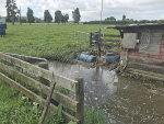 Effluent sump overflowing on the farm.