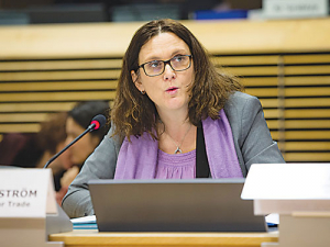 EU Trade Commissioner Cecilia Malmstrom is heading to NZ next month.