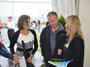 Leonie Guiney and husband Kieran Guiney registering at Fonterra's AGM today.