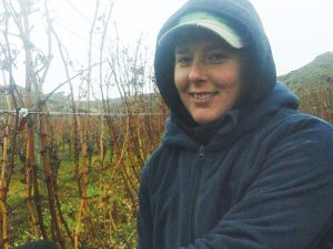 The 2018 Young Viticulturist of the Year, Annabel Bulk, at work pruning vines on the Felton Road vineyard at Bannockburn. SUPPLIED